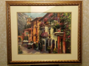 Art - Framed - Street of Homes with Juliet Balconies & Flowers