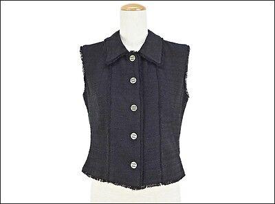 CHANEL Cloth Tweed Vest Black Size 40 (L) P14746 V08219 womens Used (AB)