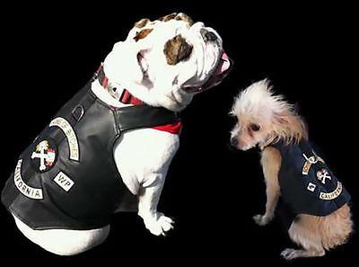 Real Leather Sons of Bitches Dog Biker Motorcycle Jacket Vest (Dog Motorcycle Jacket)