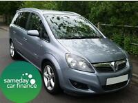 £101.96 PER MONTH LIGHT BLUE 2008 VAUXHALL ZAFIRA 1.9 CDTI SRI DIESEL MANUAL