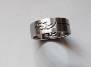 Stainless Steel Hollow Pattern Dolphin Ring