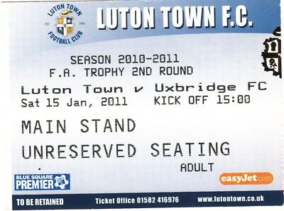 Ticket - Luton Town v Uxbridge 15.01.11 FA Trophy