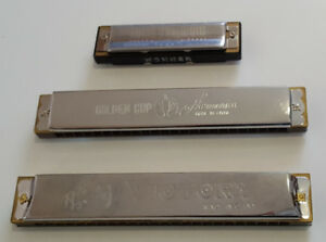 3 Harmonicas  Hohner ,Golden Cup et Victory