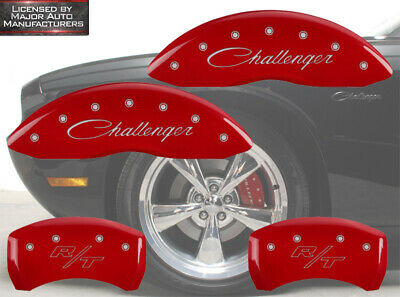 """Cursive Red 2011-2020 Dodge """"Challenger R/T"""" Front Rear MGP Brake Caliper Covers"""