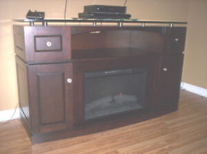 Glass Top Fireplace/TV Stand