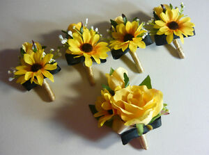 "Country Style Wedding Boutonniere Flowers "" 5 Total """