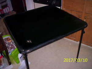FOLDING VINYL TOP CARD TABLE AND CHAIRS
