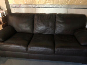 Natuzzi Brown Italian Leather Couch