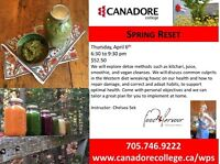 Cooking Course, Spring Reset, Canadore College, Parry Sound
