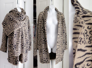 SIMON CHANG designer animal pattern wool blazer coat w. scarf