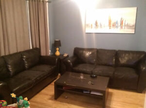 2 black leather couches for sale!
