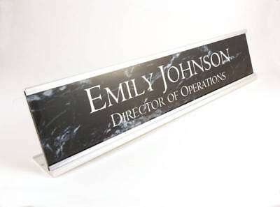 Desk name plate black marble look insert with silver aluminum holder 2