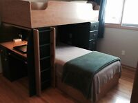 T shaped bunk bed with drawers