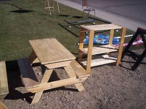 "Kids solid wood picnic table measures about  36"" by 36"" by 22"""