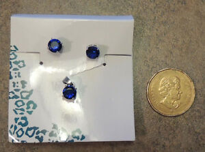 Sapphire 7MM pendant and earrings