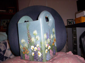 WOODEN HAND  PAINTED REMOTE ,MAIL,OR UTENSIL HOLDER