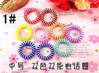 10 Hair Bands Elastics Bracelets Hair Ties Spiral Slinky Elastic Rubber rope H13 - Slinky Hair Ties