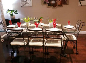 Free fridge with 8 people glass top dinning table set