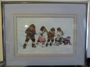 "Inuit Painting by Dorothy Francis ""Winning Side"" Lithograph"