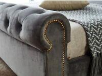 🔔🔔KING🔔🔔 SLEIGH GREY PLUSH VELVET BED FRAMES .. AVAILABLE FOR DELIVERY