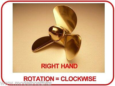 BRASS MODEL BOAT PROPELLER 45mm 3 BLADE RIGHT HAND M4 ( CLOCKWISE ROTATION )
