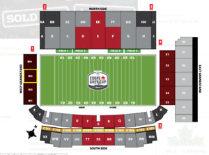 GREY CUP BELOW FACE VALUE -- Section WEST3 Row 17 Seats 39,40