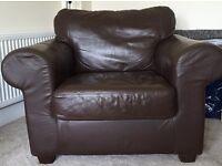 Brown leather Ikea Ektorp armchair