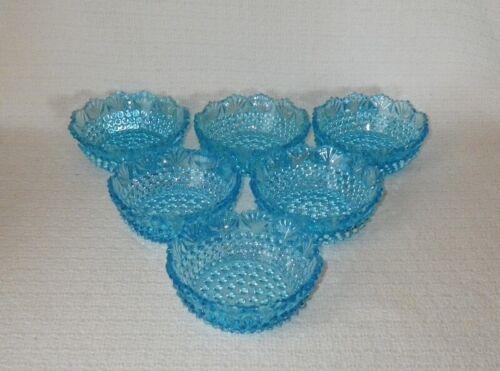 US Glass Blue DEWDROP Hobnail & Fan Fruit Dessert Bowls ~ Set of 6