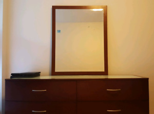 *** Solid Wood Double Dresser w/Glass Top + Matching Mirror***