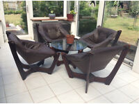 Glass round table with 4 leather brown chairs- Scandinavian style