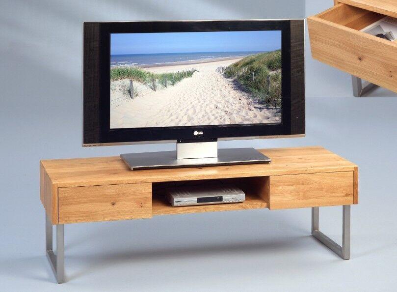 TV BANK FERNSEHTISCH LOWBOARD - WILDEICHE MASSIV - GESTELL EDELSTAHL - 120 x 40