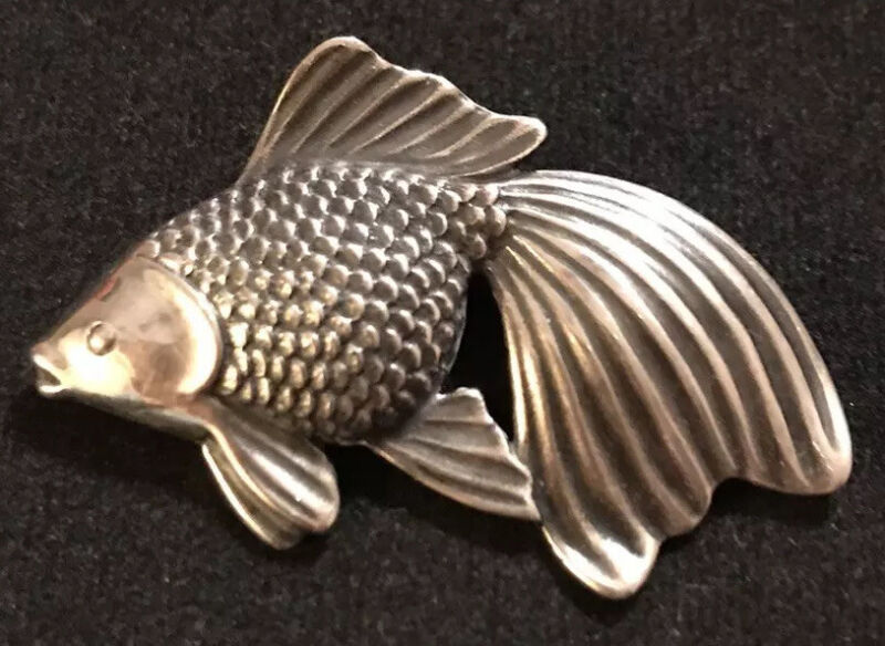 James Avery Koi Fish Goldfish Pin Original Release Retired Sterling Silver