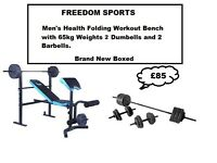 Men's Health Folding Workout Bench with 65kg Weights 2 dumbells and 2 barbells