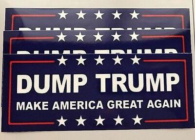 (3) Anti Donald Trump Dump Trump 8.0x3.2 Window Bumper Vinyl Sticker Decal
