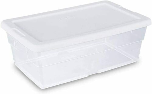 STERILITE 6 Quart 5.7 Liter Storage Box White Lid Clear Base Container 01 unit