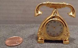 H Gold Color Mini Miniature Quartz Antique Desk Telephone Phone Clock  2X1.75