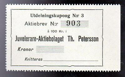 Utdelningskupong 100 Kronor Juvelerare Th. Petersson Nr. 903 Schweden - 0453
