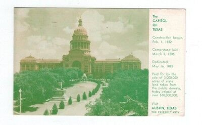 """For sale TX Austin Texas 1953 post card """"The Capitol of Texas"""" Austin Chamber Commerce"""