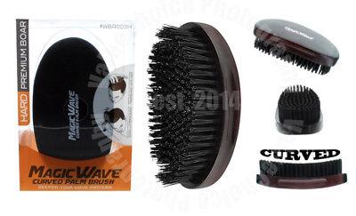 Magic Wave Premium Curved Hard Boar Bristle Hair Brush Wooden Military #WBR003H
