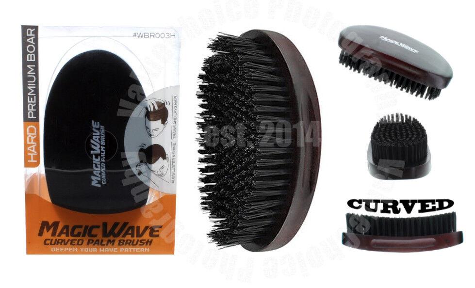 Magic Wave Premium Curved Hard Boar Bristle Hair Brush Woode
