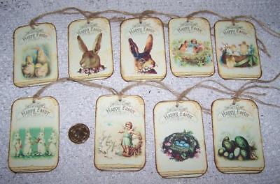Easter~Primitive~Vintage~Eggs~Bunny~Chick~Linen -