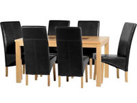 """Wexford 59"""" Dining Table With 6 Black Leather Chairs (G1)"""
