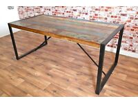 Reclaimed Boatwood Industrial Steel Wood Timber Dining Kitchen Sets Chairs Benches