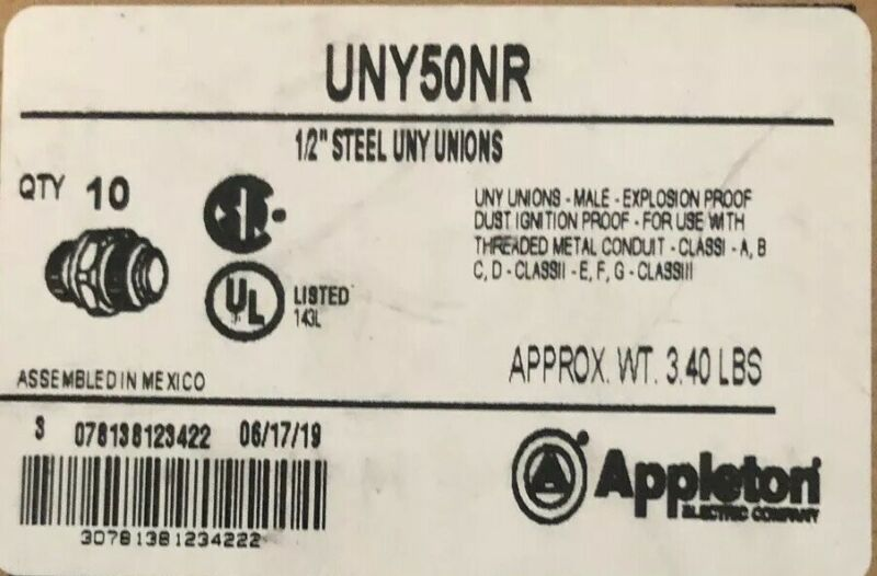 "Appleton UNY50NR 1/2"" Steel Union"