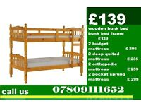 New SINGLE WOODEN BUNK BED BASE WITH DEEP QUILTED Mattress