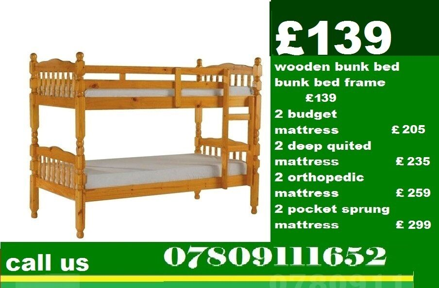 TARA WOODEN BUNK BED WITH MATTRESSin East Finchley, LondonGumtree - FURNITURE THAT BEST SUITES YOUR HOME QUICK SAME OR NEXT DAY DELIVERY AVAILABLE ALL PRODUCTSARE BRAnd NEW AVAILABLE AT WHOLE SALE RATES FEEL FREE TO CONTACT US