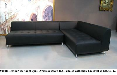 1018 modern design black leather sectional chaise