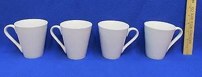 White Coffee Cup Mugs Set of 4 Dinnerware Stoneware Ceramic Classic Design