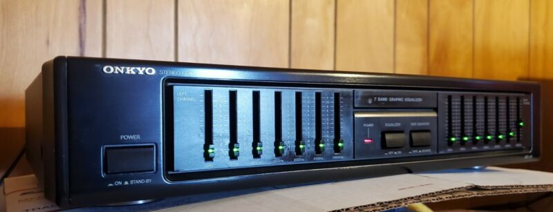 *Nice* Vintage Onkyo EQ-101 Stereo Graphic Equalizer. LED switches!  Tested