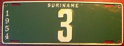 1954 Suriname Single Digit   3 License Plate Dutch Guiana South America Rare Tag